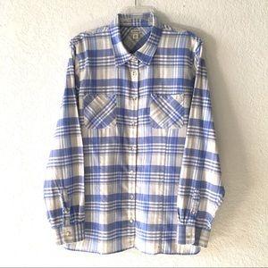 L.L. Bean Blue Plaid Flannel Shirt